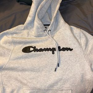 I am selling a Champion quilted logo grey hoodie